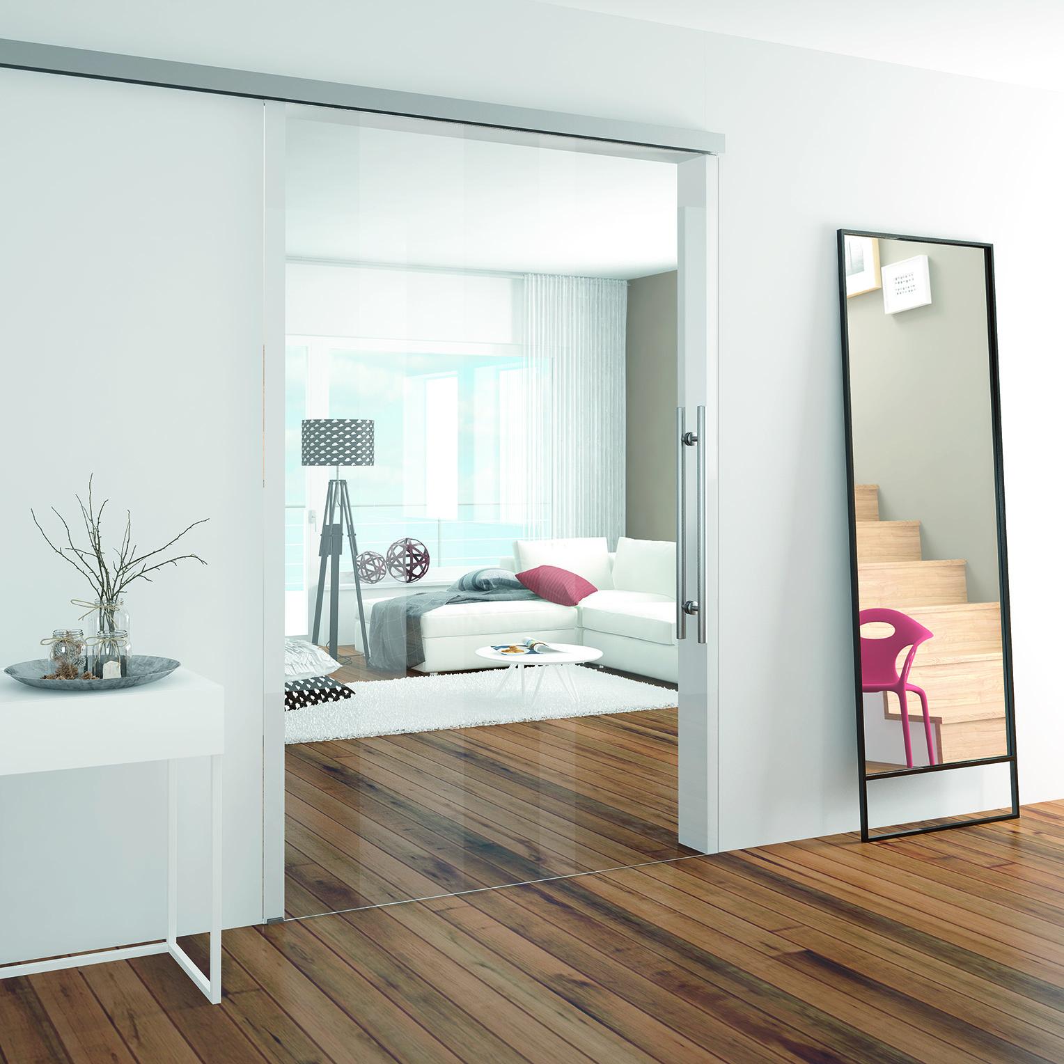 Glasschiebetürsystem mit Verriegelung per Fernbedienung oder Wandschalter
