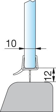 Wasserabweisprofil für 8mm Glas – KU0