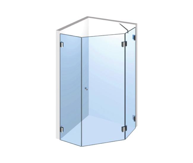 5-Eck-Dusche – Drehtür mit zwei Festteilen