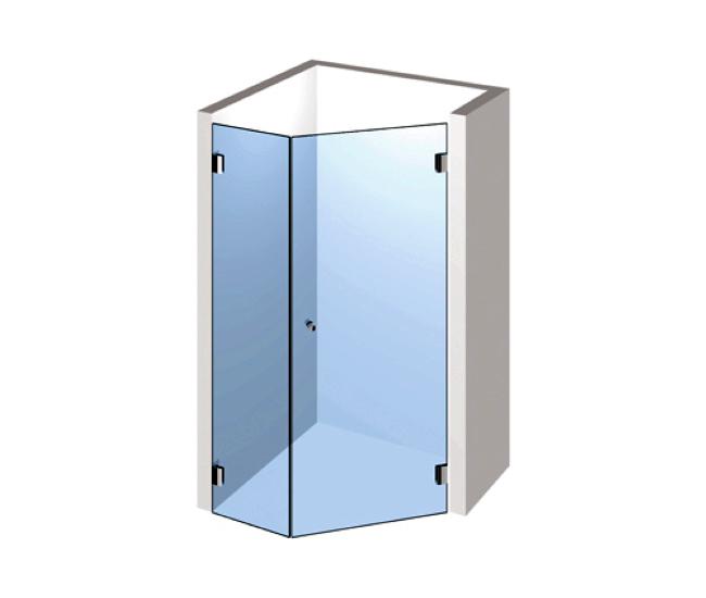 5-Eck Dusche – Drehtür mit Festteil