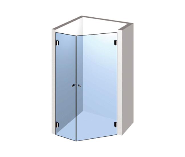 5-Eck Dusche – Zwei Ecktüren