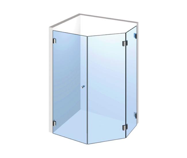 5-Eck Dusche – Drehtür und zwei Festteilen