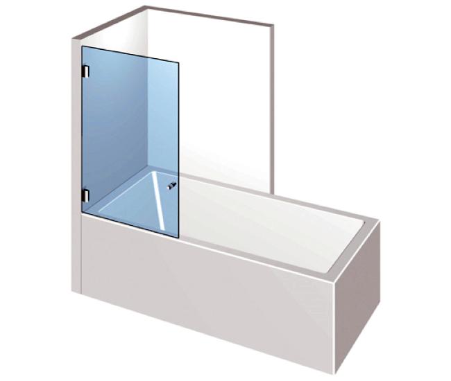 Dusche mit Badewannenaufsatz - Drehtür
