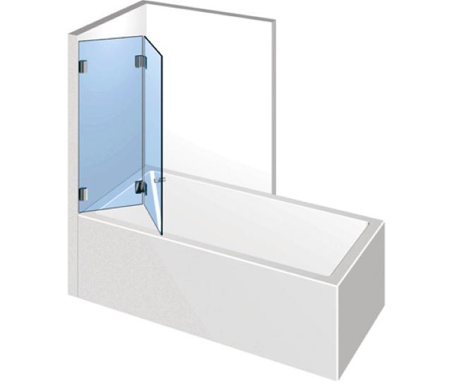 Dusche mit Badewannenaufsatz - Falttür