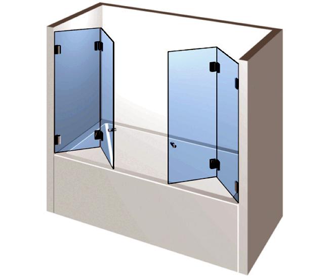 Dusche mit Badewannenaufsatz - Zwei Falttüren