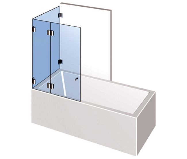 Dusche mit Badewannenaufsatz - Drehtür mit zwei Festteilen