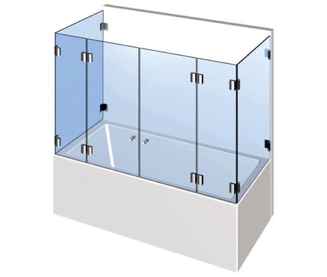 Dusche mit Badewannenaufsatz - Doppelflügelige Drehtür an zwei Festteilen mit zwei Seitenteile