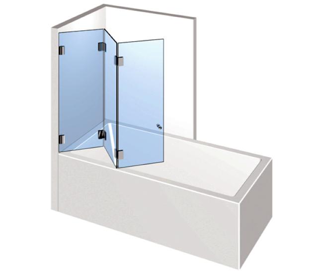 Dusche mit Badewannenaufsatz - Dreiseitige Falttür