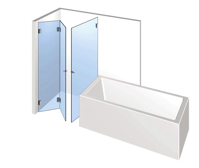 Dusche mit Badewannenanschluss – Falttür mit Drehtür