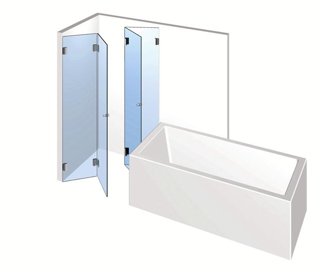 Dusche mit Badewannenanschluss – Zwei Falttüren