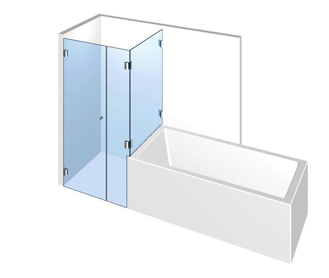 Dusche mit Badewannenanschluss – Drehtür mit zwei Festteilen