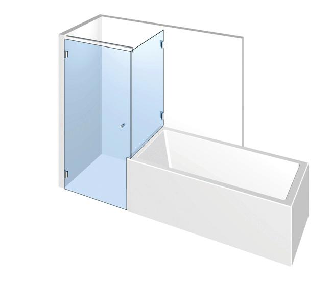 Dusche mit Badewannenanschluss – Drehtür mit Festteil