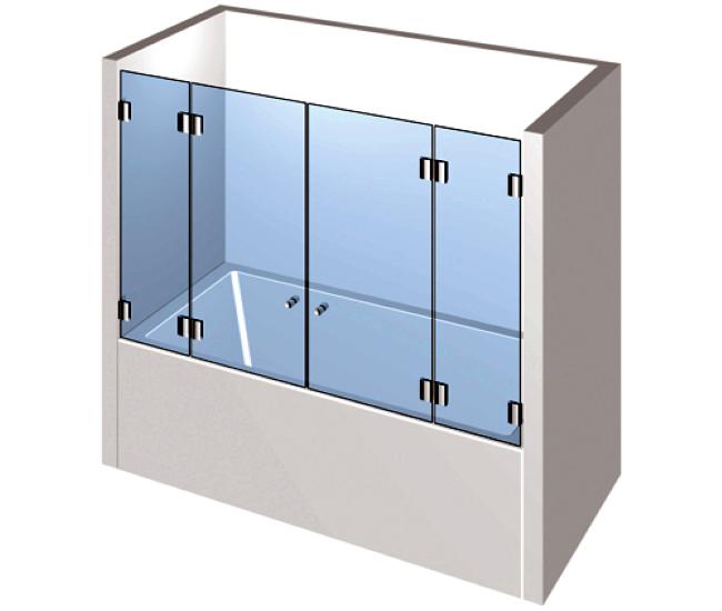 Dusche mit Badewannenaufsatz - Doppelflügelige Drehtür an zwei Festteilen